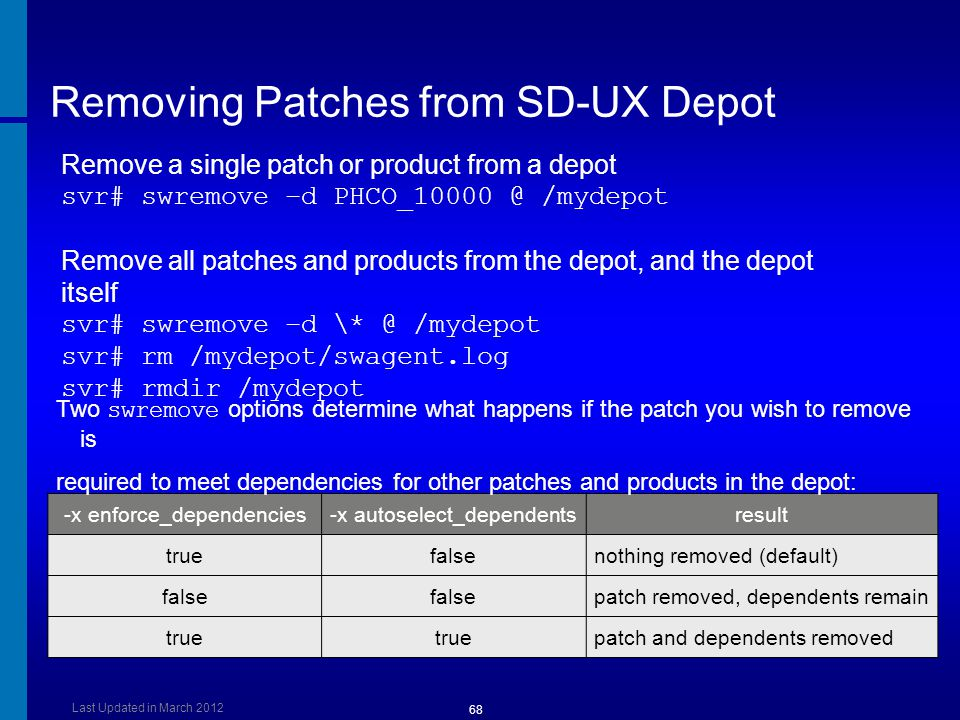 Removing Patches from SD-UX Depot