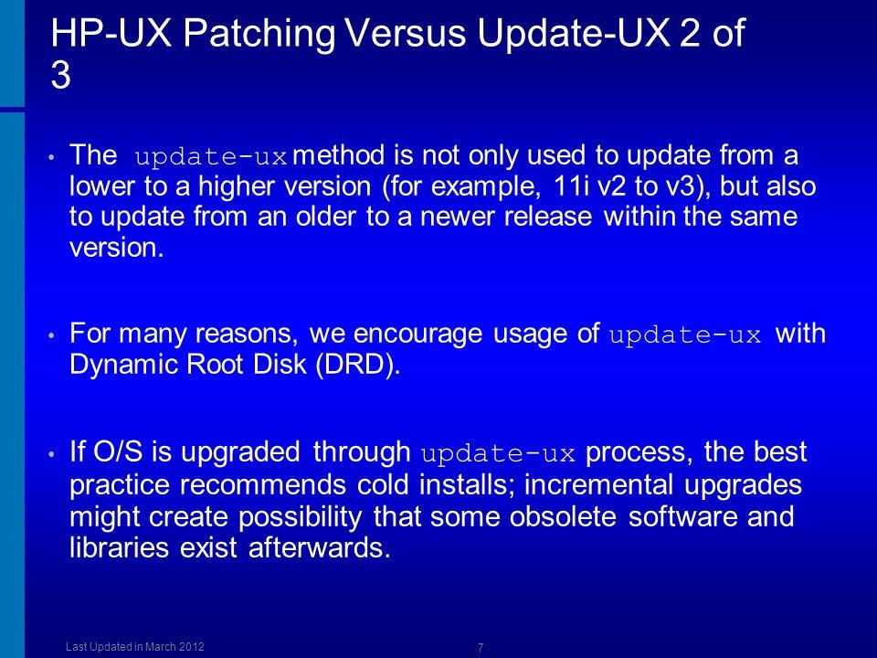HP-UX Patching Versus Update-UX 2 of 3