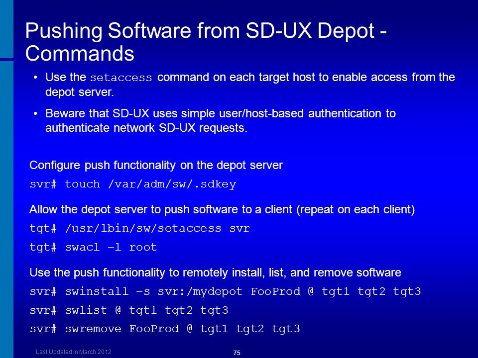 Pushing Software from SD-UX Depot - Commands