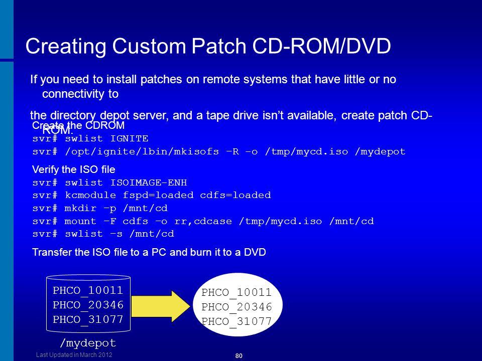 Creating Custom Patch CD-ROM/DVD