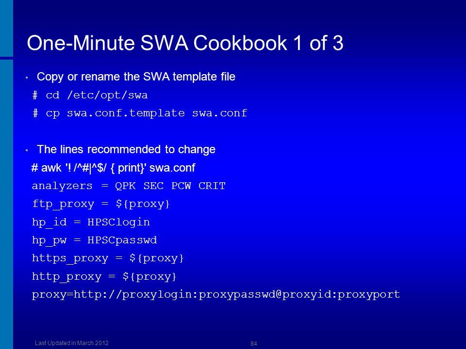 One-Minute SWA Cookbook 1 of 3