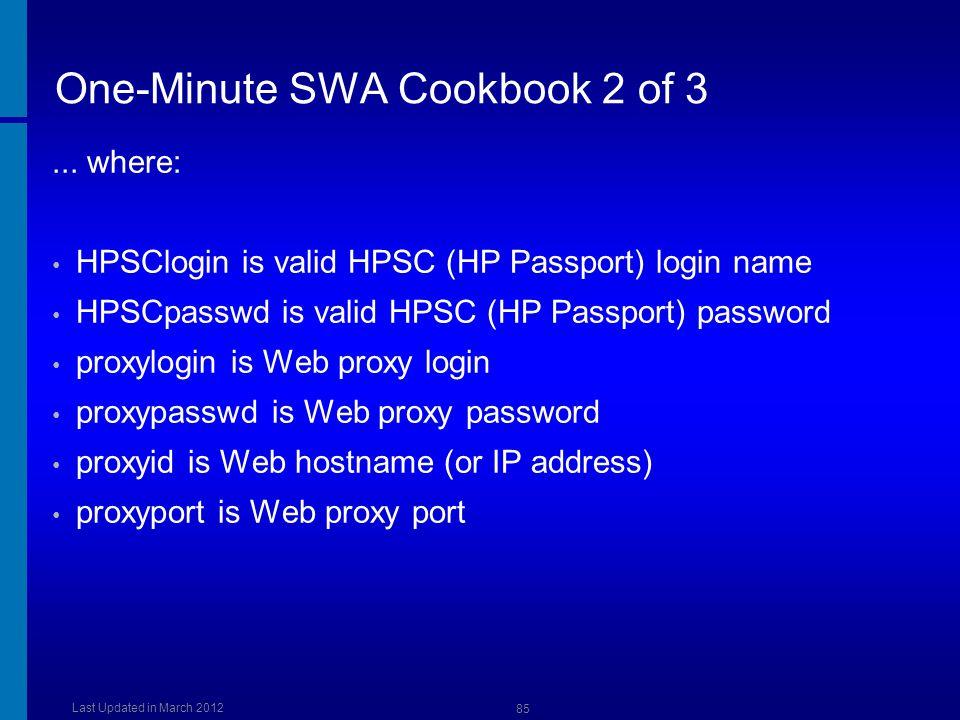 One-Minute SWA Cookbook 2 of 3