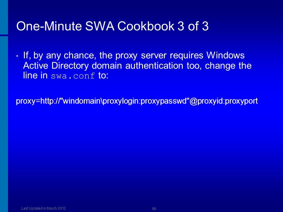 One-Minute SWA Cookbook 3 of 3
