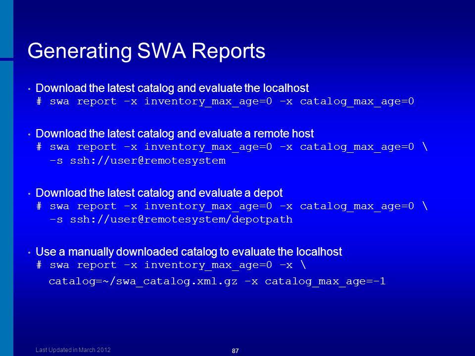 Generating SWA Reports
