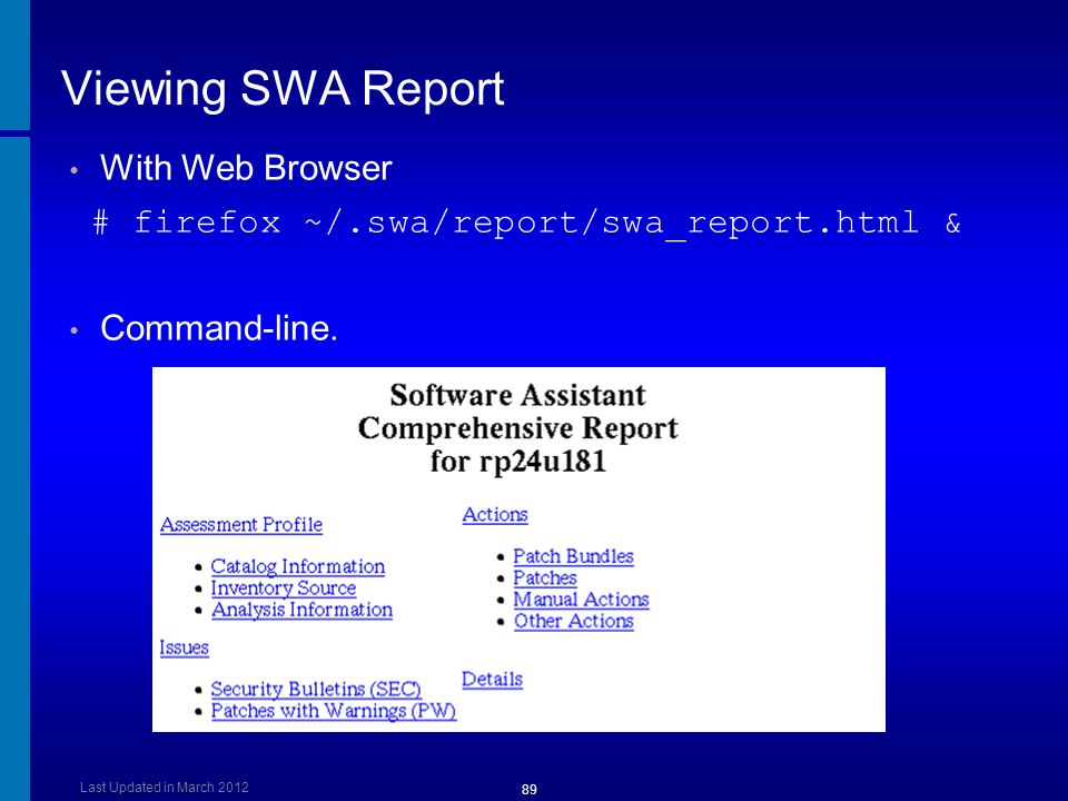 Viewing SWA Report With Web Browser