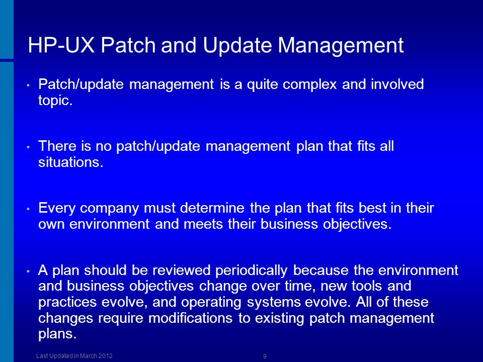 HP-UX Patch and Update Management
