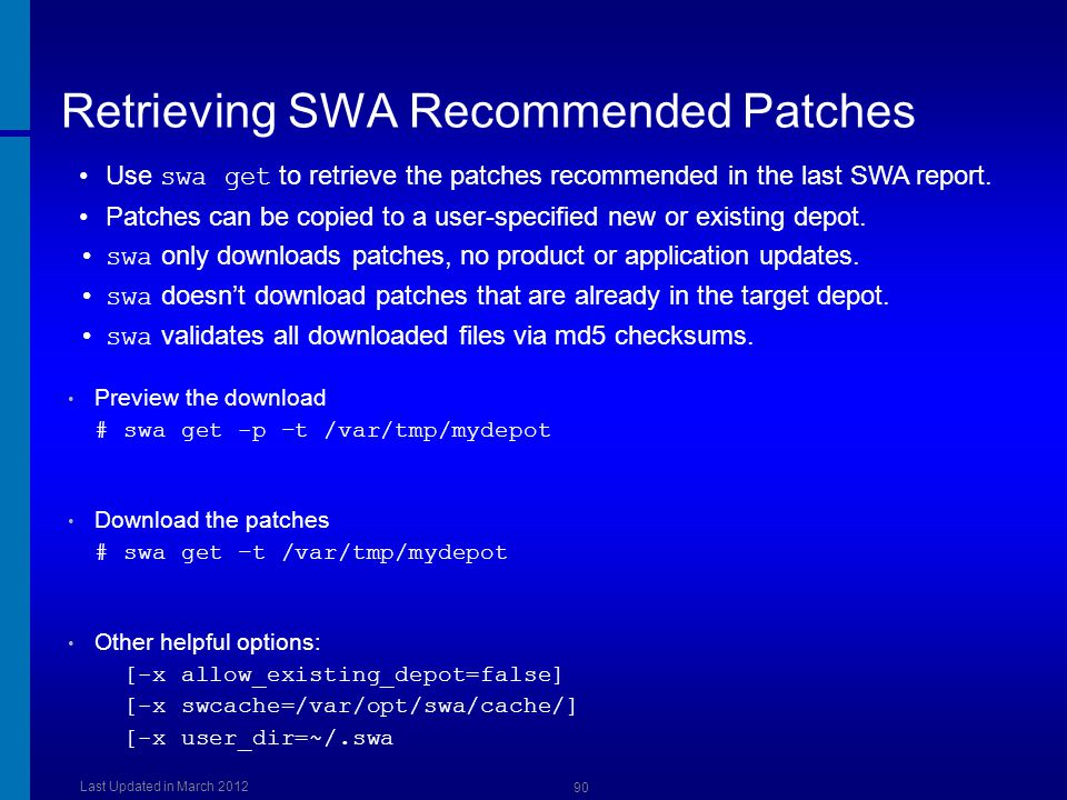 Retrieving SWA Recommended Patches
