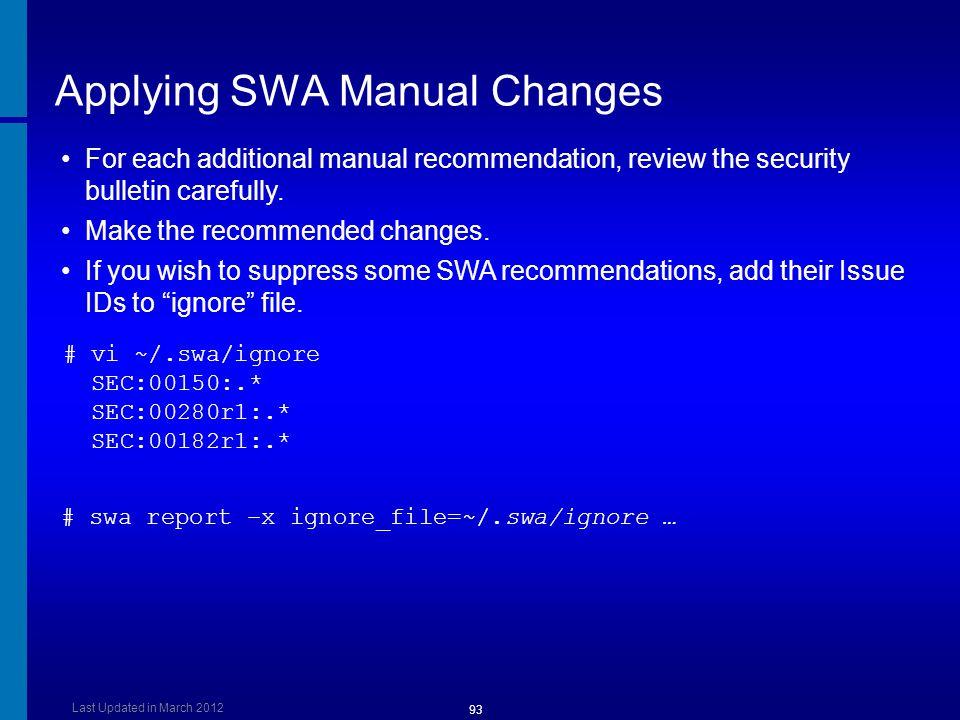 Applying SWA Manual Changes