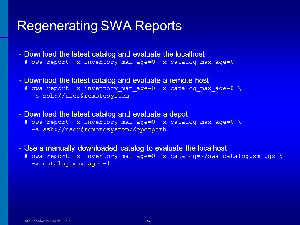 Regenerating SWA Reports