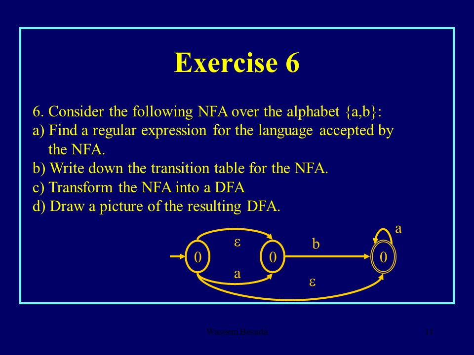 Exercise 6 6. Consider the following NFA over the alphabet {a,b}: