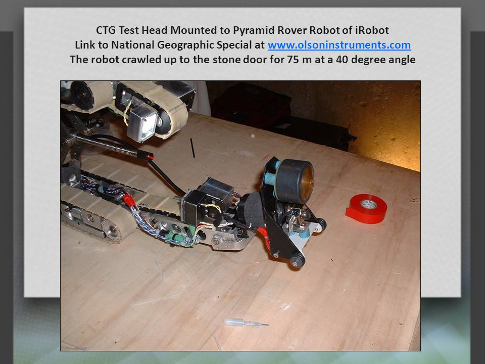 CTG Test Head Mounted to Pyramid Rover Robot of iRobot