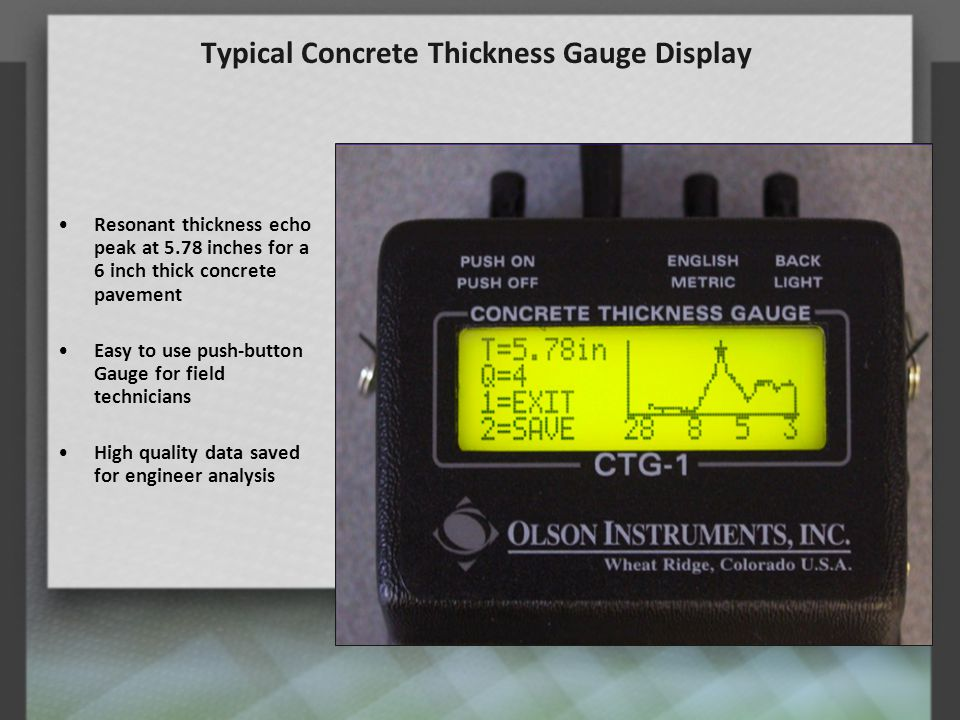 Typical Concrete Thickness Gauge Display
