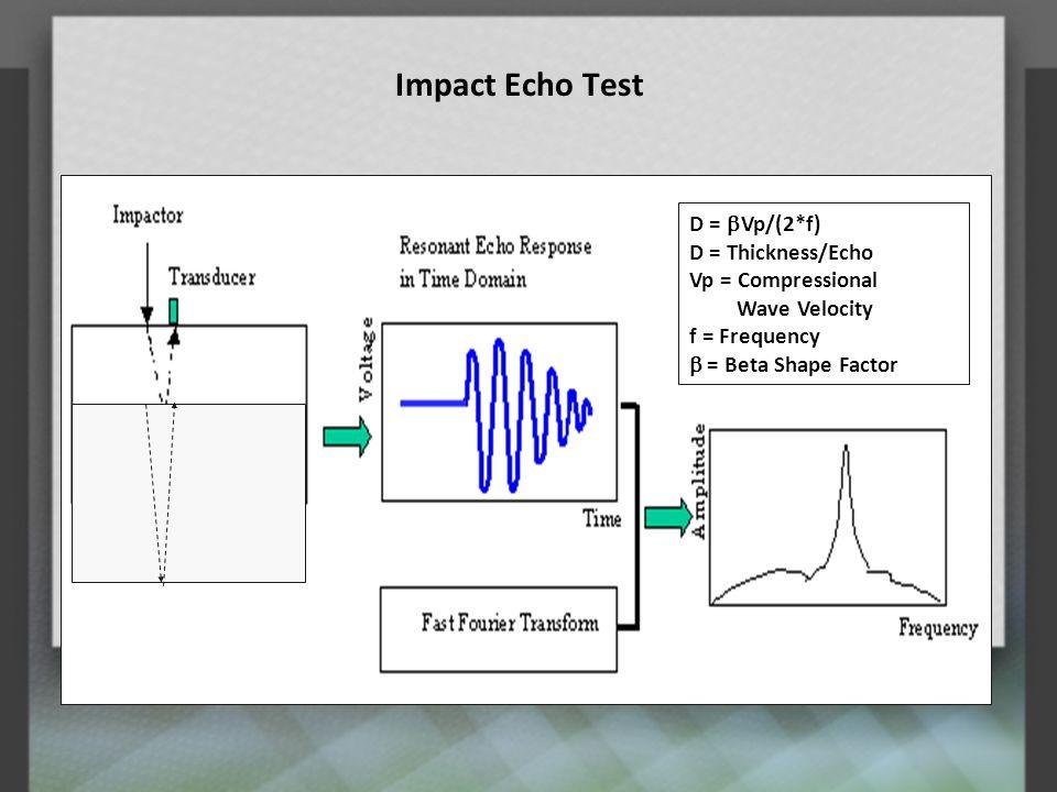 Impact Echo Test D = bVp/(2*f) D = Thickness/Echo Vp = Compressional