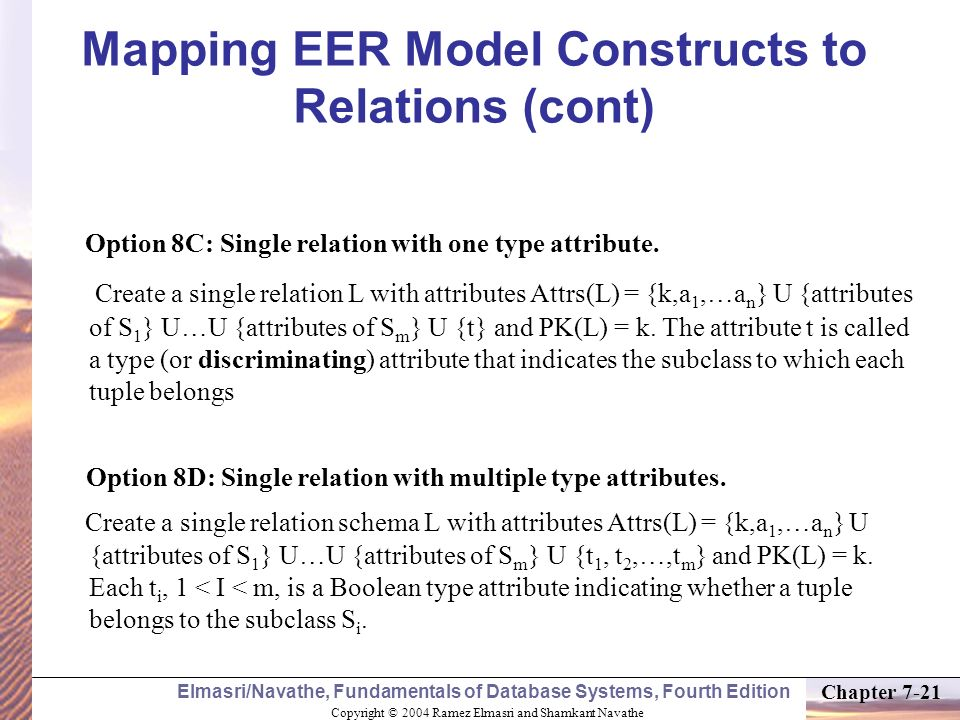 Mapping EER Model Constructs to Relations (cont)