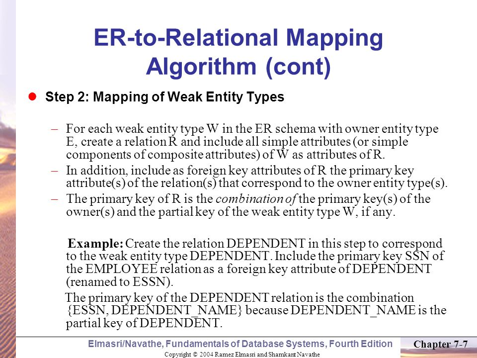 ER-to-Relational Mapping Algorithm (cont)