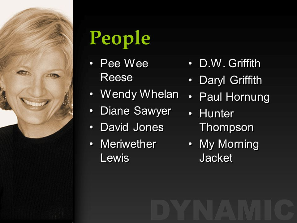 People Pee Wee Reese Wendy Whelan Diane Sawyer David Jones