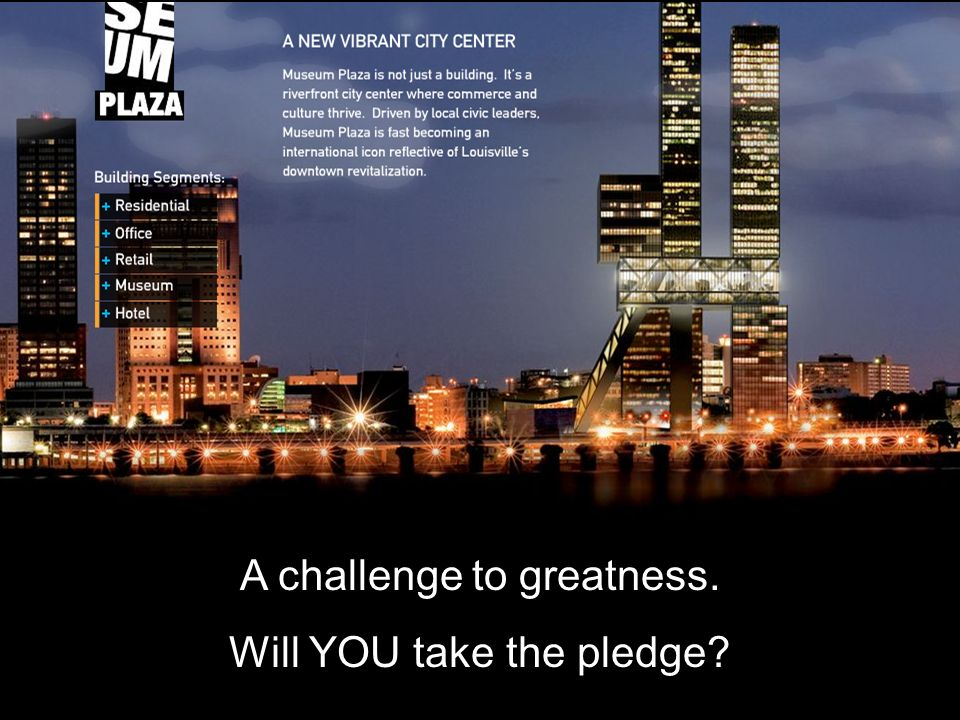 A challenge to greatness. Will YOU take the pledge