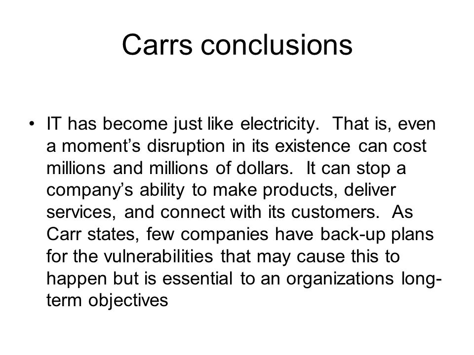 Carrs conclusions