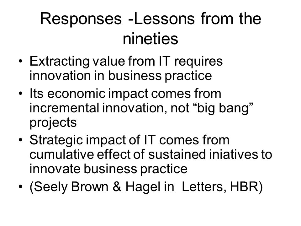 Responses -Lessons from the nineties