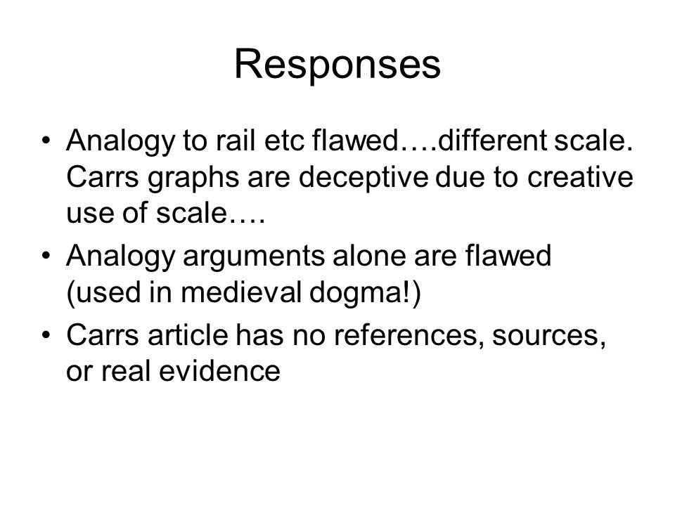 Responses Analogy to rail etc flawed….different scale. Carrs graphs are deceptive due to creative use of scale….