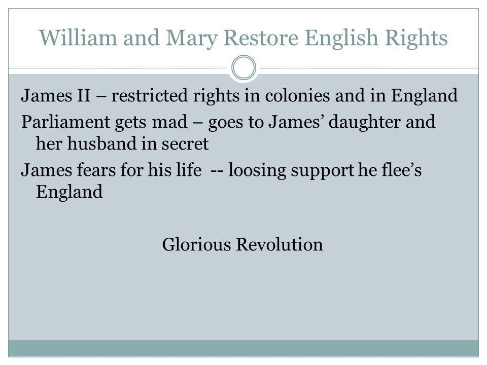 William and Mary Restore English Rights