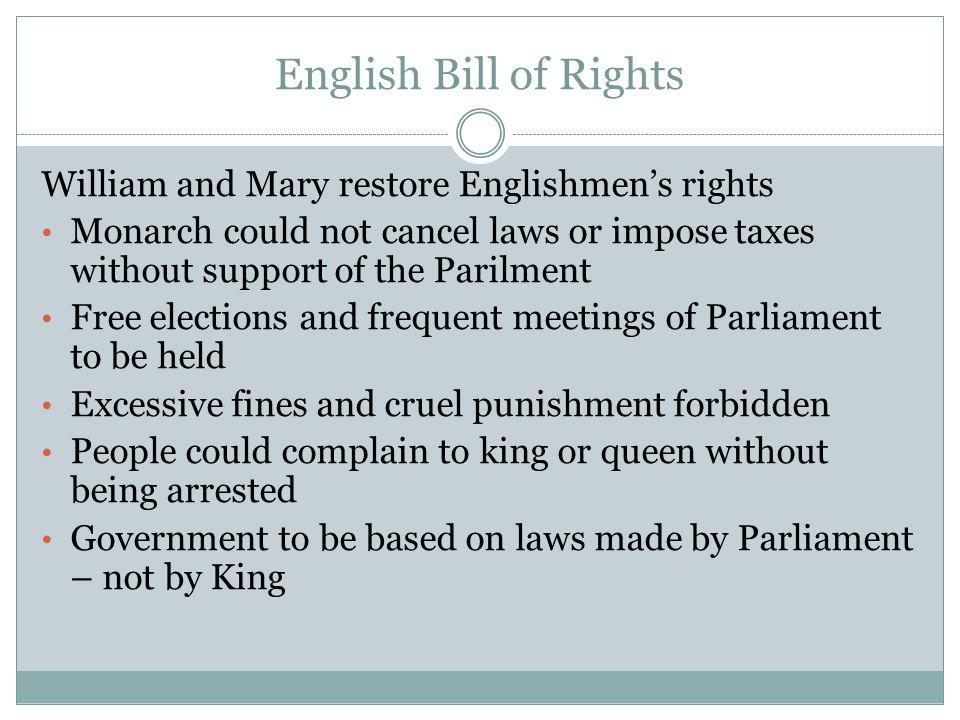 English Bill of Rights William and Mary restore Englishmen's rights