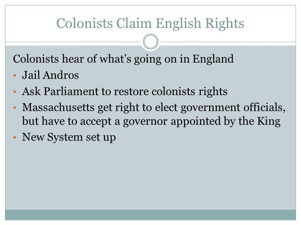 Colonists Claim English Rights