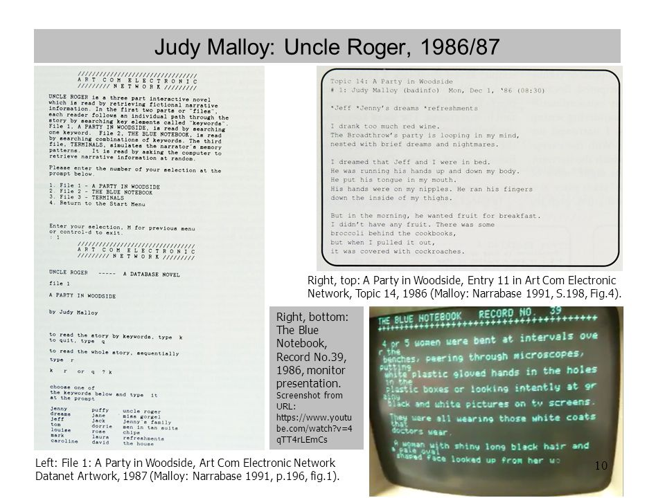 Judy Malloy: Uncle Roger, 1986/87