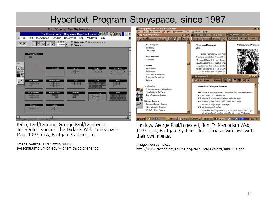 Hypertext Program Storyspace, since 1987