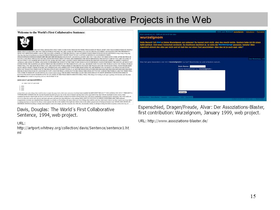 Collaborative Projects in the Web