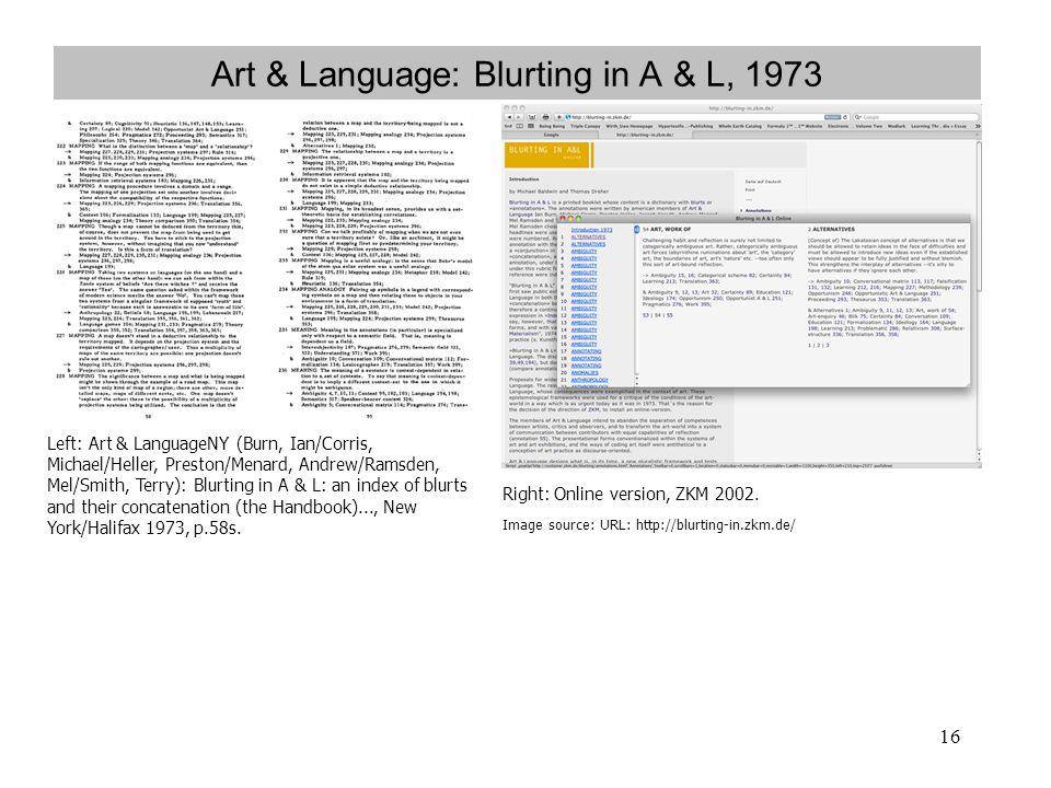 Art & Language: Blurting in A & L, 1973