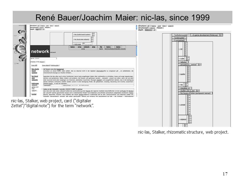 René Bauer/Joachim Maier: nic-las, since 1999