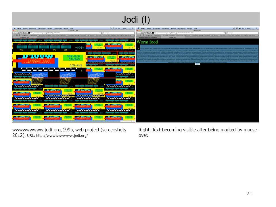 Jodi (I) wwwwwwwww.jodi.org, 1995, web project (screenshots 2012). URL: http://wwwwwwwww.jodi.org/