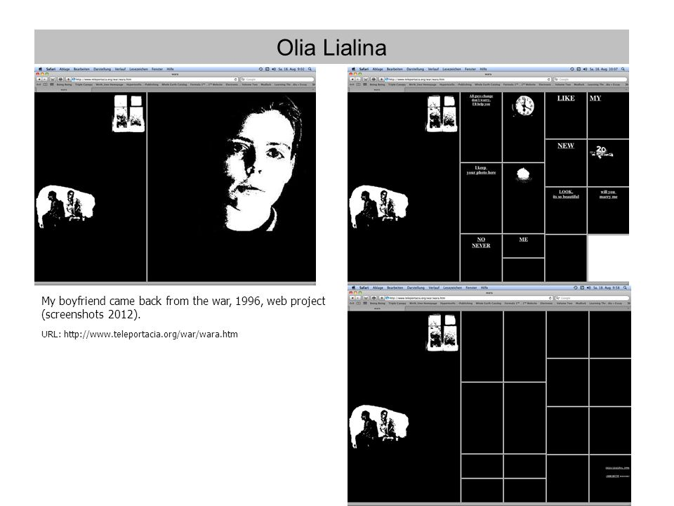 Olia Lialina My boyfriend came back from the war, 1996, web project (screenshots 2012).