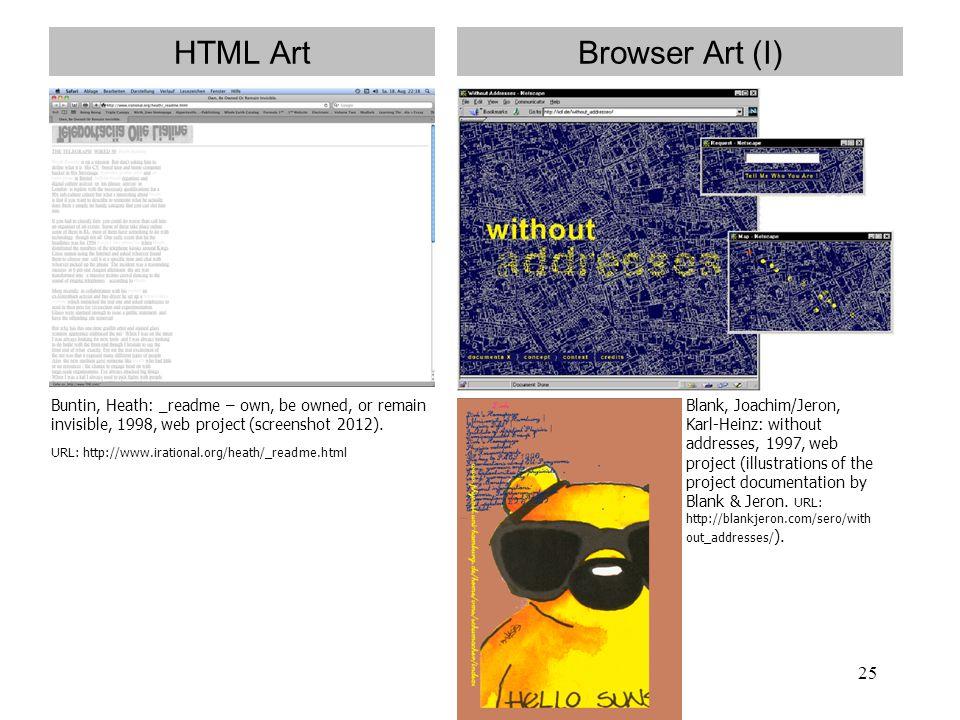 HTML Art Browser Art (I)