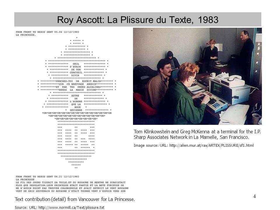 Roy Ascott: La Plissure du Texte, 1983