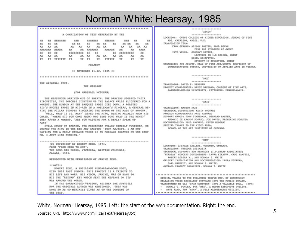 Norman White: Hearsay, 1985 White, Norman: Hearsay, 1985. Left: the start of the web documentation. Right: the end.