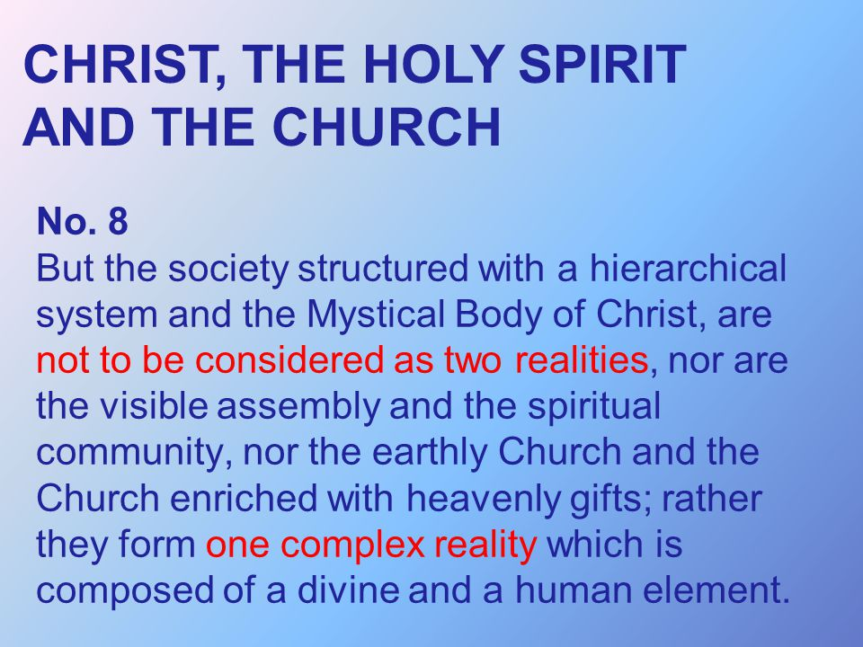 CHRIST, THE HOLY SPIRIT AND THE CHURCH
