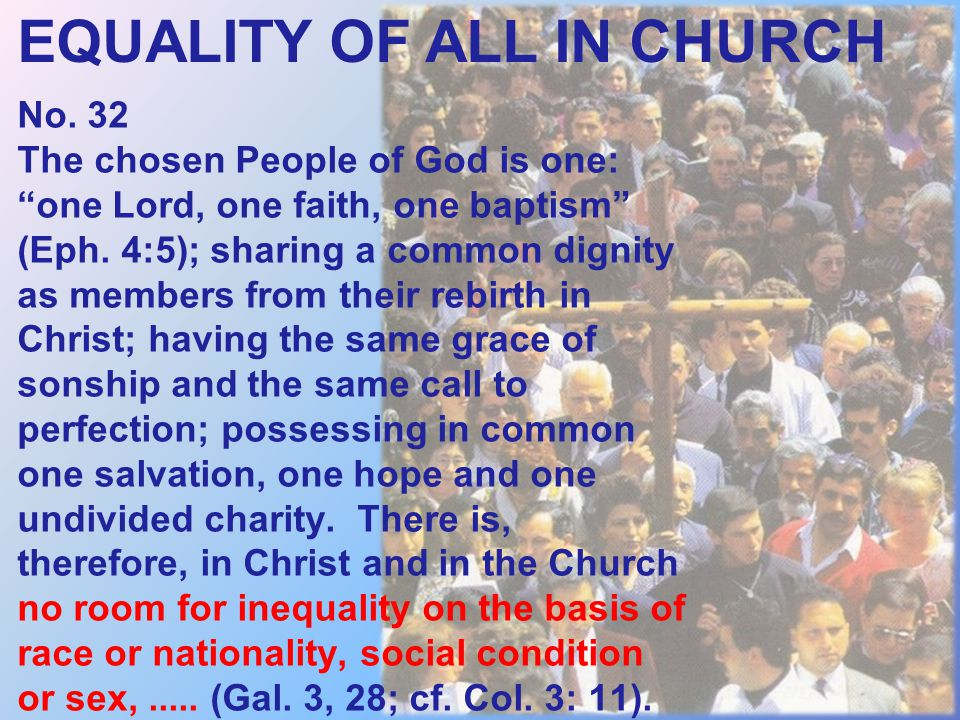 EQUALITY OF ALL IN CHURCH