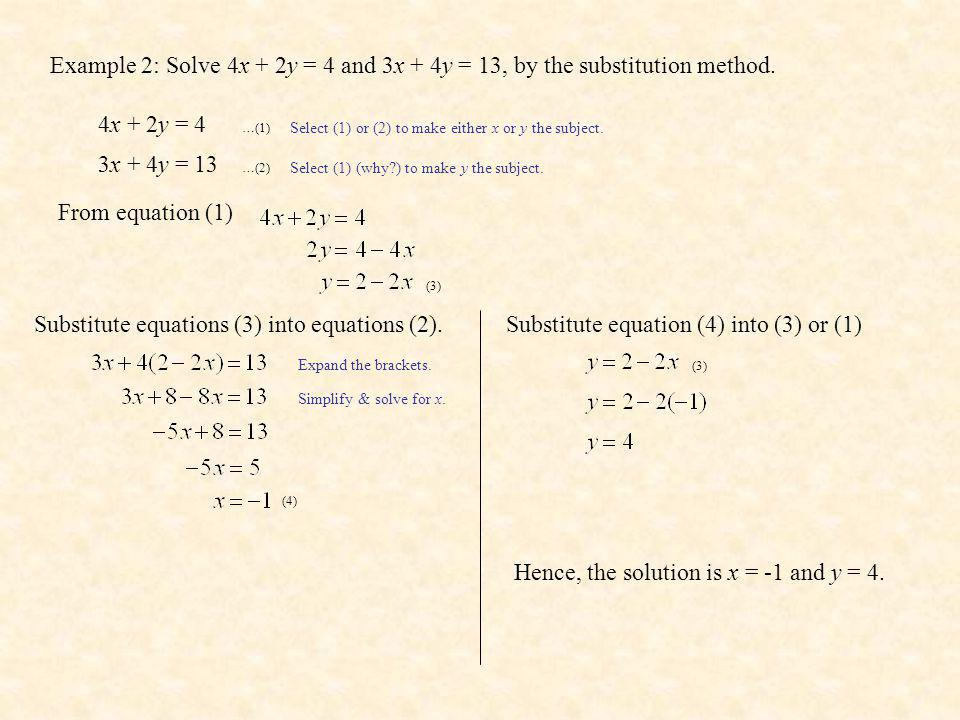 Substitute equations (3) into equations (2).