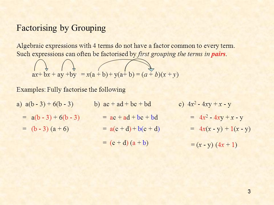 Factorising by Grouping