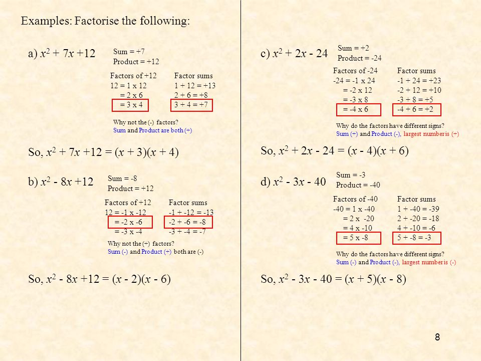 Examples: Factorise the following: