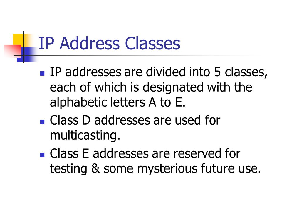 IP Address Classes IP addresses are divided into 5 classes, each of which is designated with the alphabetic letters A to E.