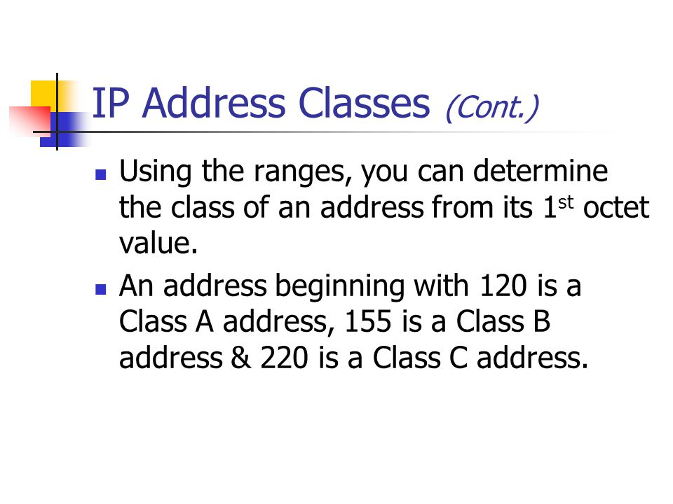 IP Address Classes (Cont.)