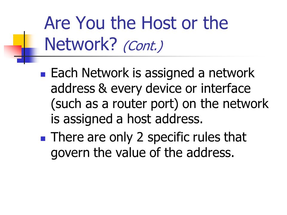Are You the Host or the Network (Cont.)