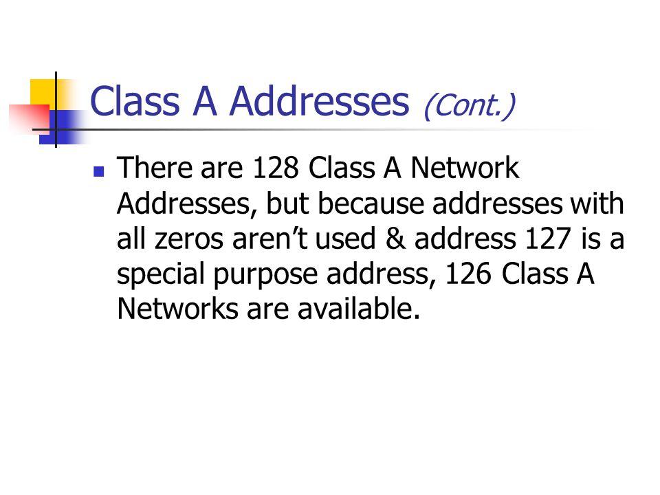 Class A Addresses (Cont.)