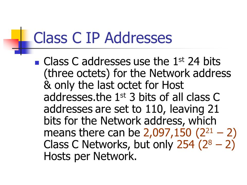 Class C IP Addresses
