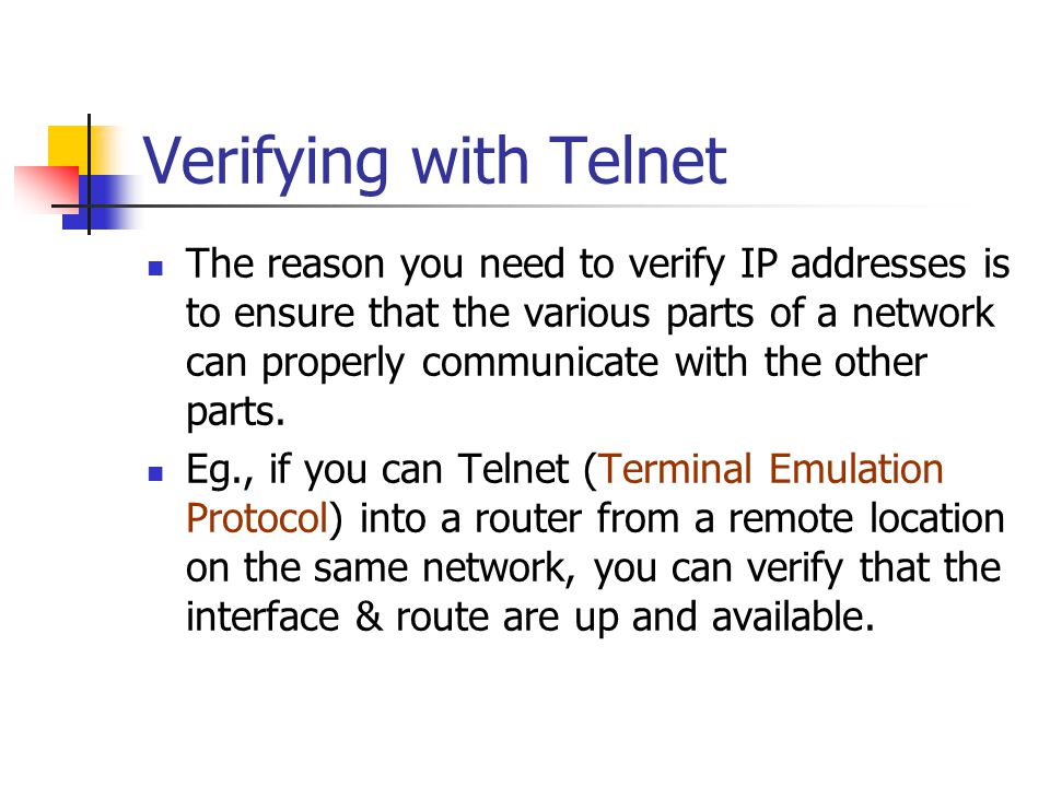 Verifying with Telnet
