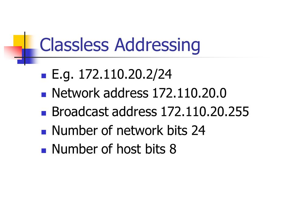 Classless Addressing E.g. 172.110.20.2/24 Network address 172.110.20.0