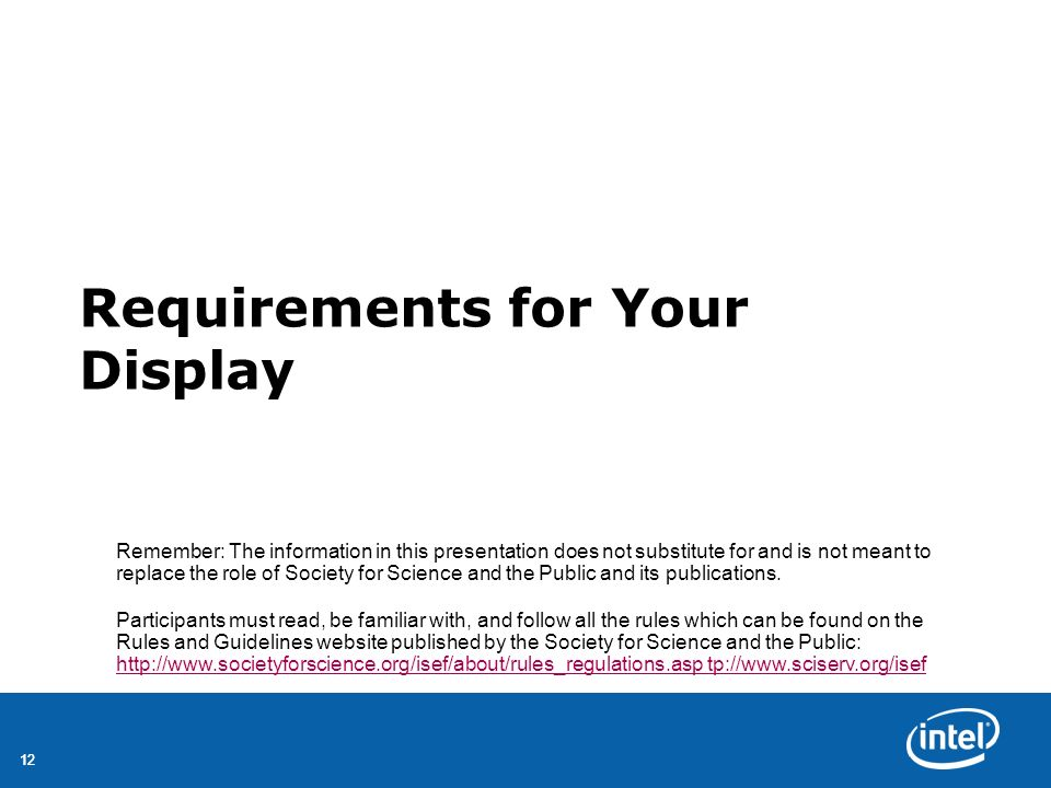 Requirements for Your Display